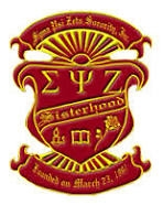 Sigma Psi Zeta crest showing colors of red and gold.