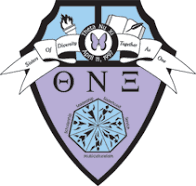 Theta Nu Xi crest showing colors of lavender, Carolina blue, and black.